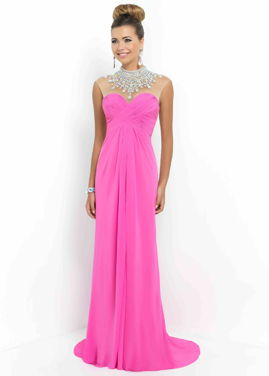 Sheer Beaded High Illusion Neck Ruched Petunia Long Prom Dress ...